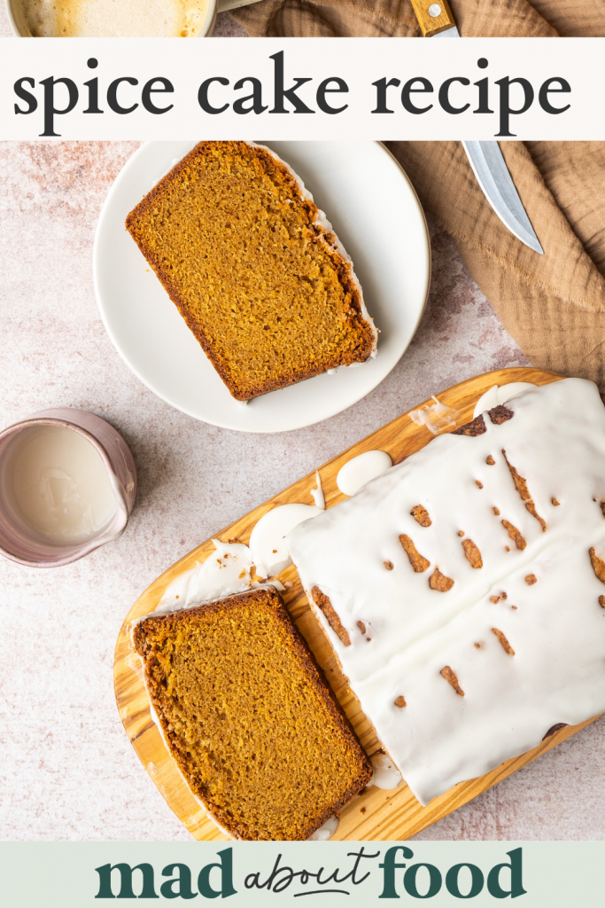 Image for pinning spice cake recipe on pinterest