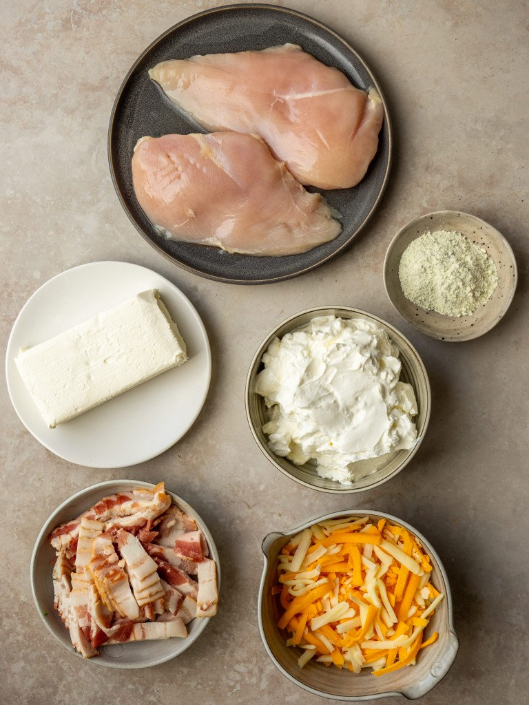Above view of ingredients for a chicken ranch dip